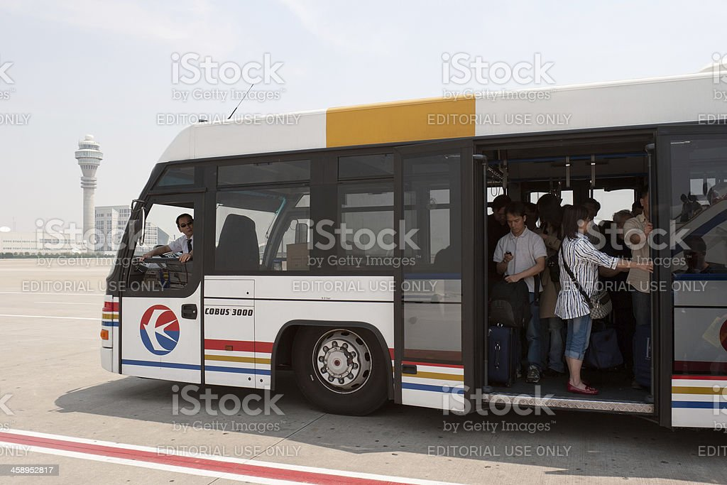 Airside transfer bus in Shanghai stock photo