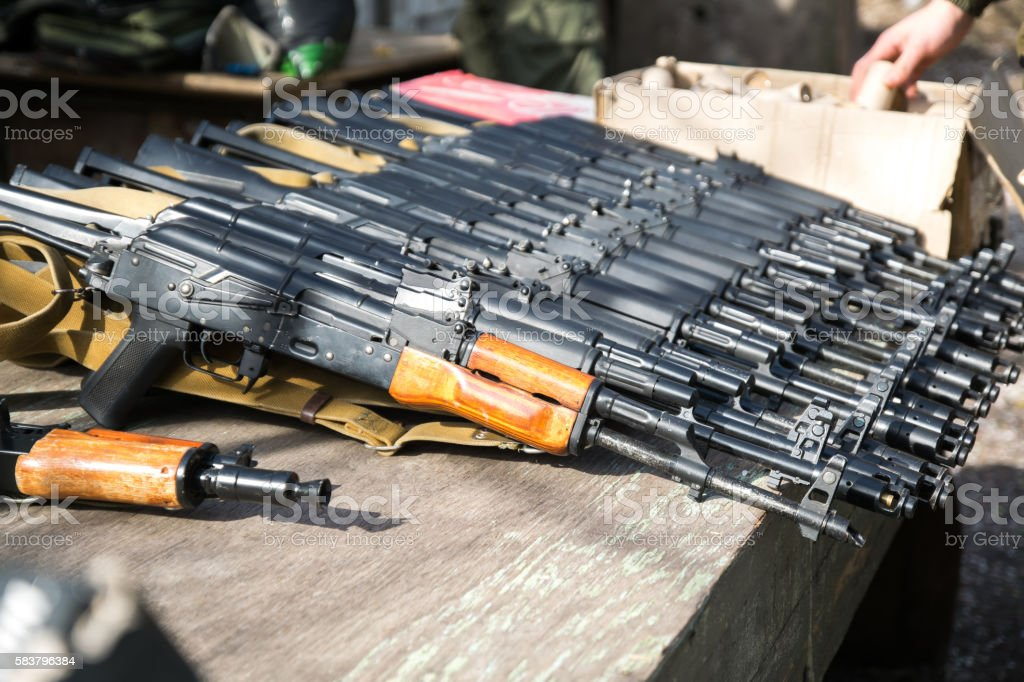 Airsoft guns, Kalashnikov, automatic stock photo