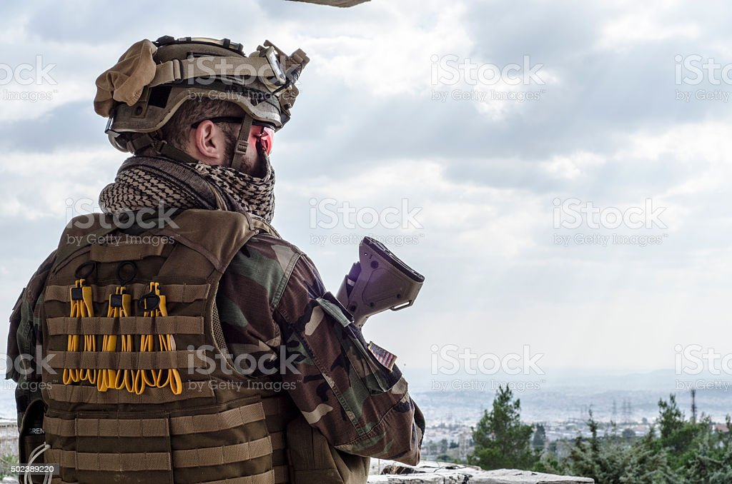 Airsoft trooper soldier stock photo