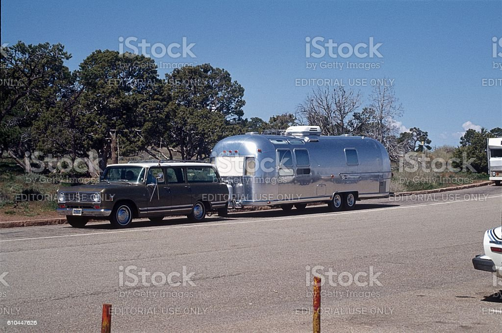 Airstream Trailer on a Highway, 1977 stock photo