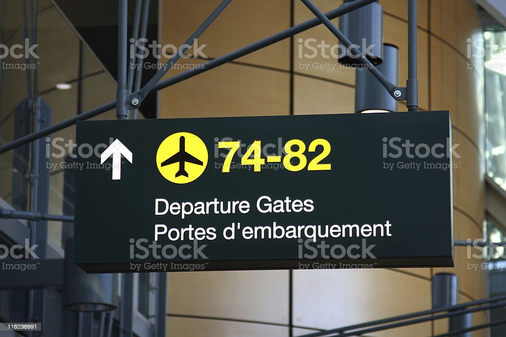 Airtport Departures Sign stock photo