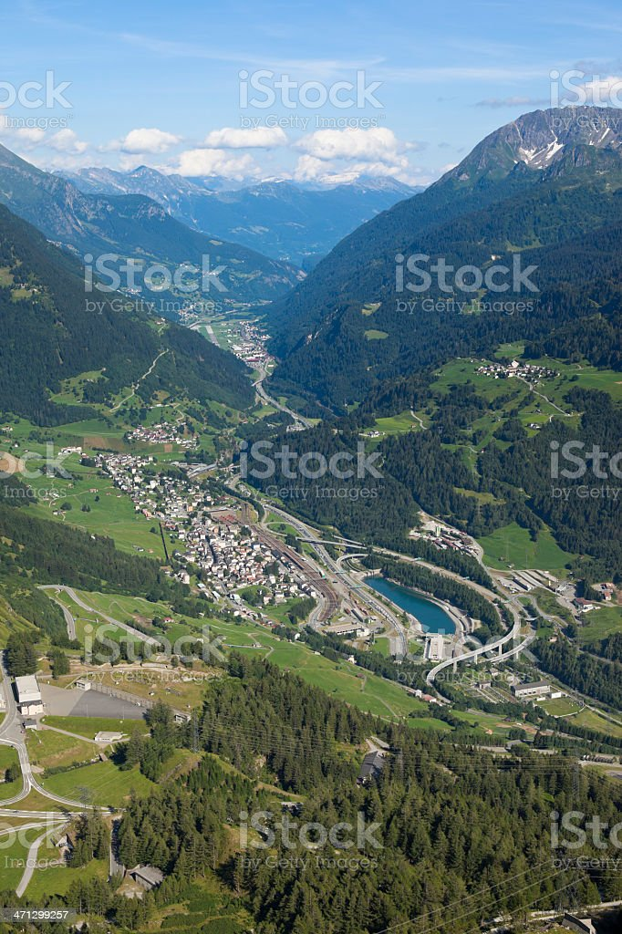 Airview from Sustenpass to the Gotthard highway in switzerland royalty-free stock photo