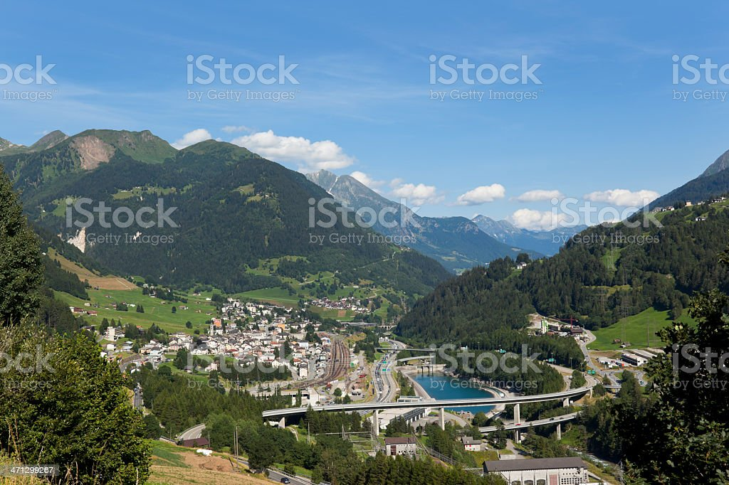 Airview from Sustenpass to the Gotthard highway with Traffic Jam stock photo