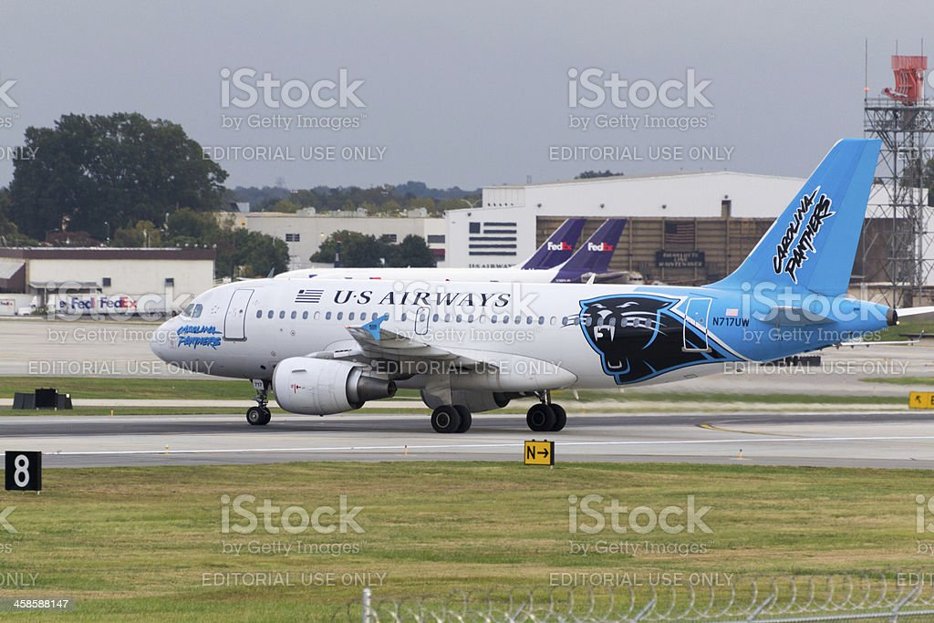 US Airways A319 in Carolina Panthers Colors stock photo