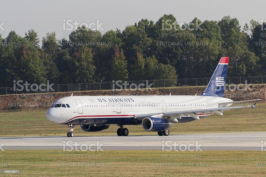 US Airways A321 Departing Charlotte Douglas International Airport royalty-free stock photo