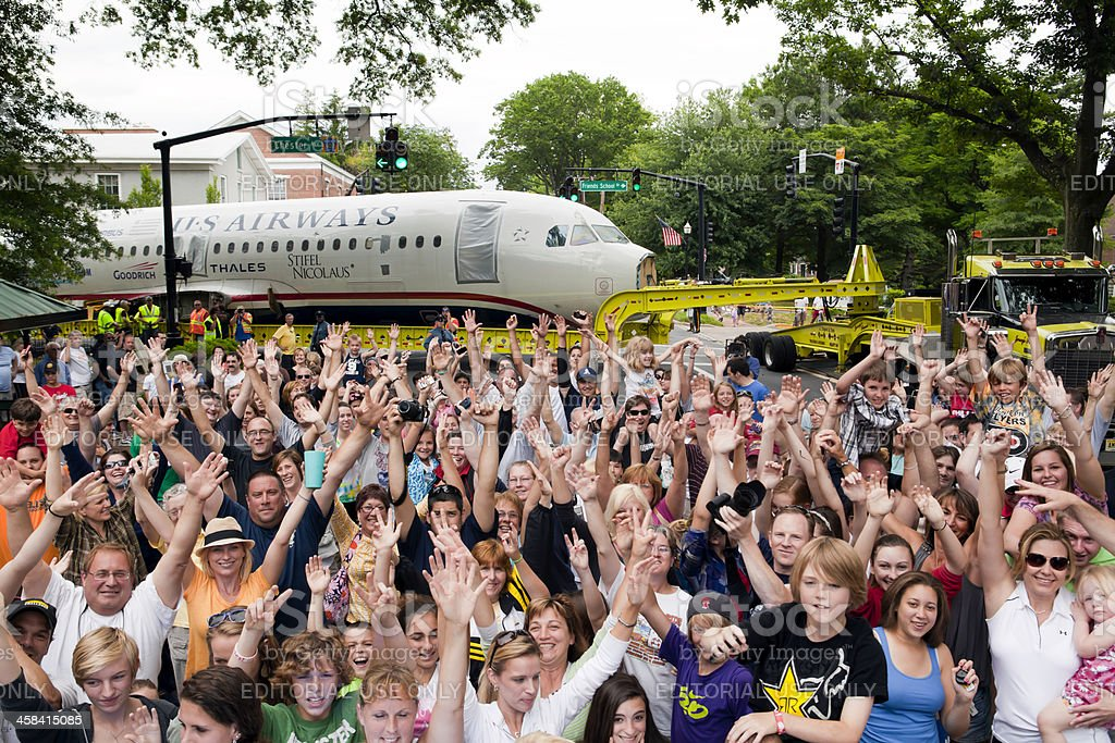 US Airways Flight 1549 coming through Moorestown stock photo