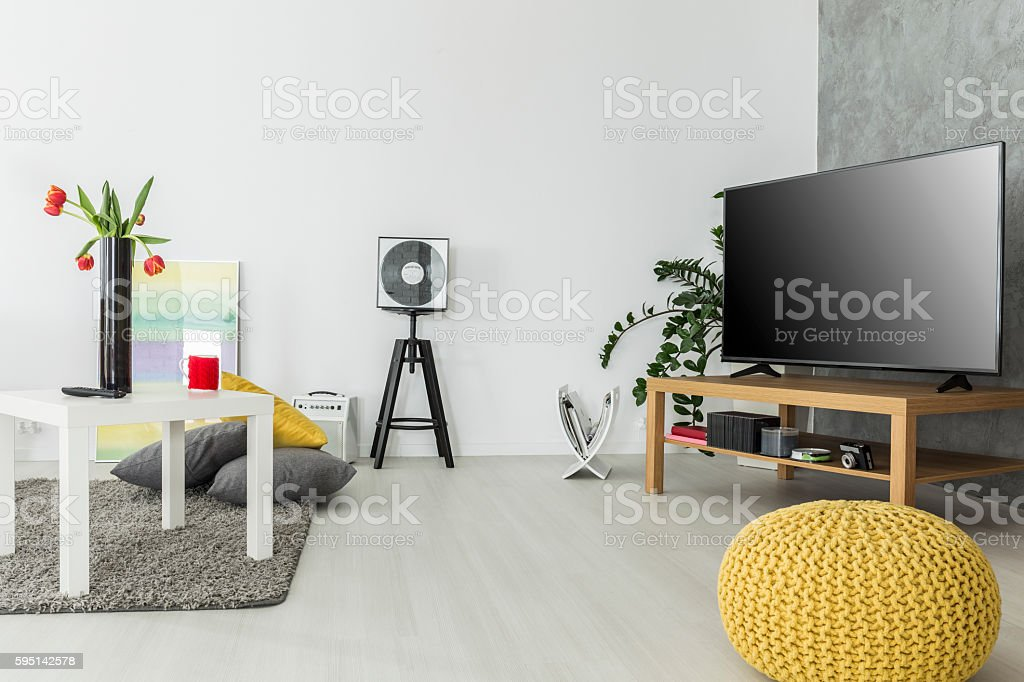 Airy interior for enthusiasts of good movies stock photo