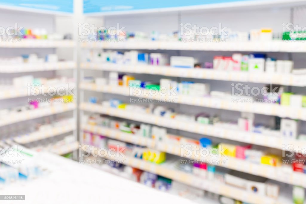 Aisle in a pharmacy stock photo