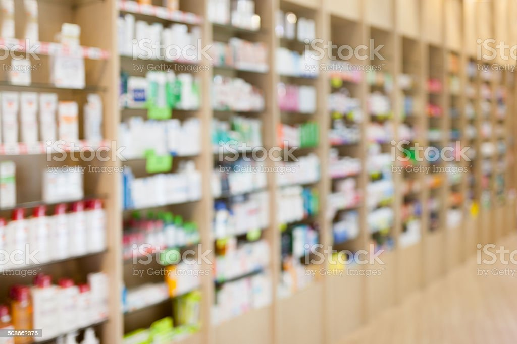 Aisle in a pharmacy stock photo