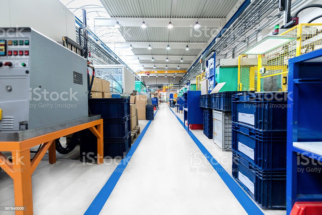 Aisle of industrial factory stock photo