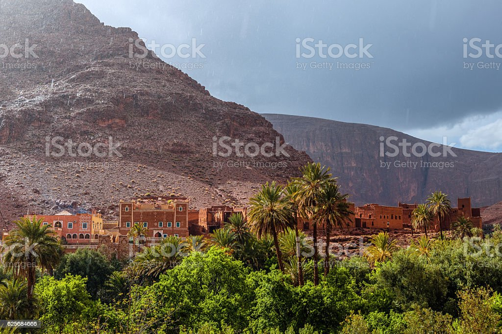 Ait Baha Tizgui Village in Todra Valley Morocco,North Africa stock photo
