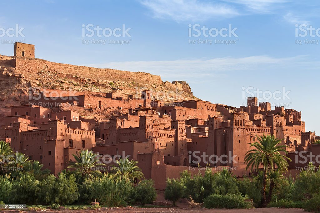 Ait Benhaddou Kasbah in morning, Morocco. stock photo