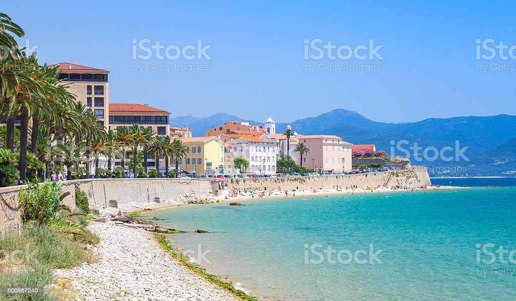Ajaccio cityscape, Corsica island, France. Beach stock photo
