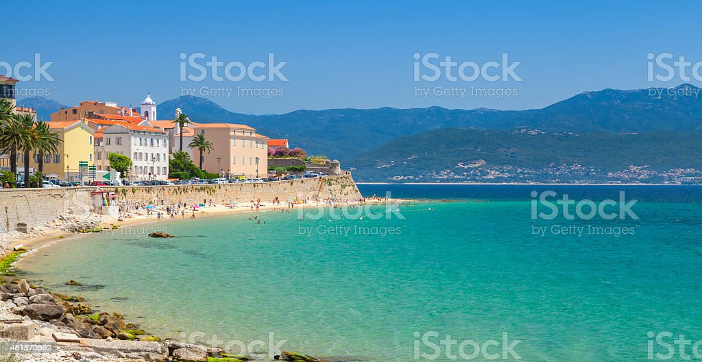 Ajaccio, Corsica island, France. Coastal cityscape stock photo