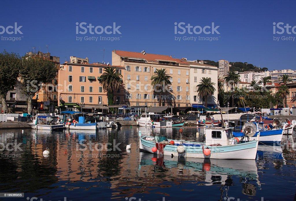 Ajaccio Old Harbour in Corsica, France stock photo