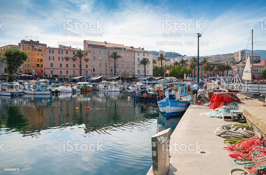 Ajaccio port, Corsica. Small fishing boats stock photo