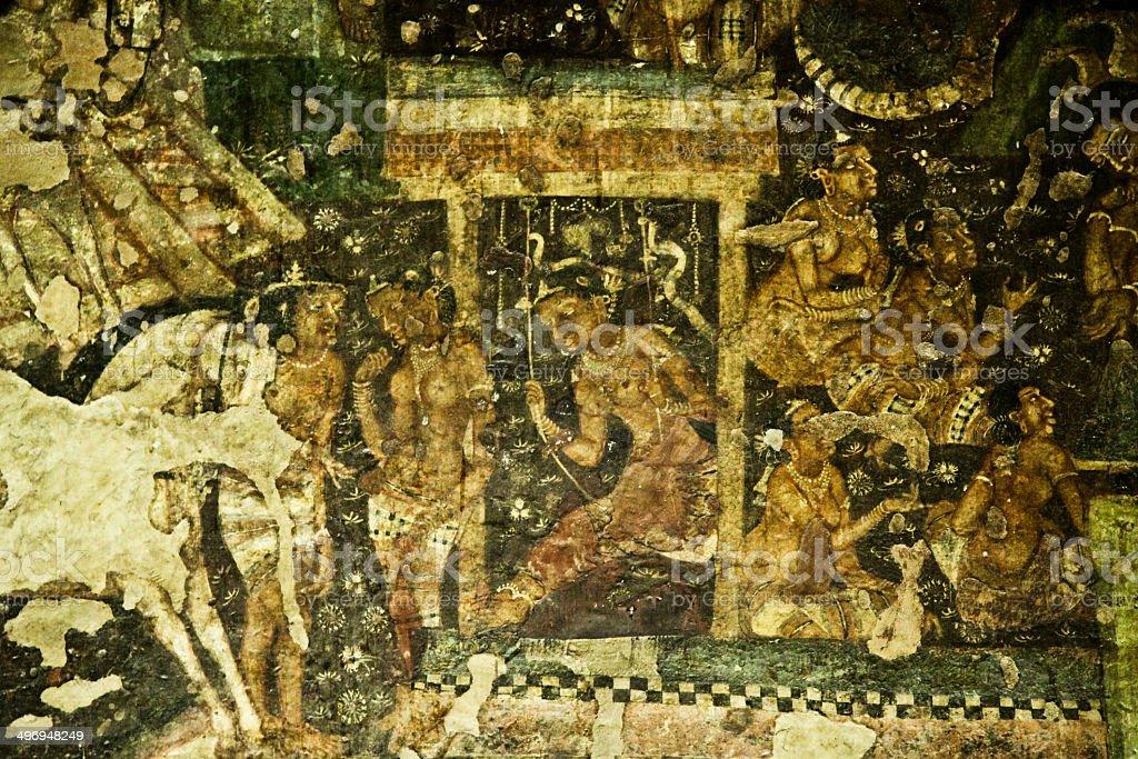 Ajanta Mural Painting - Life as usual stock photo
