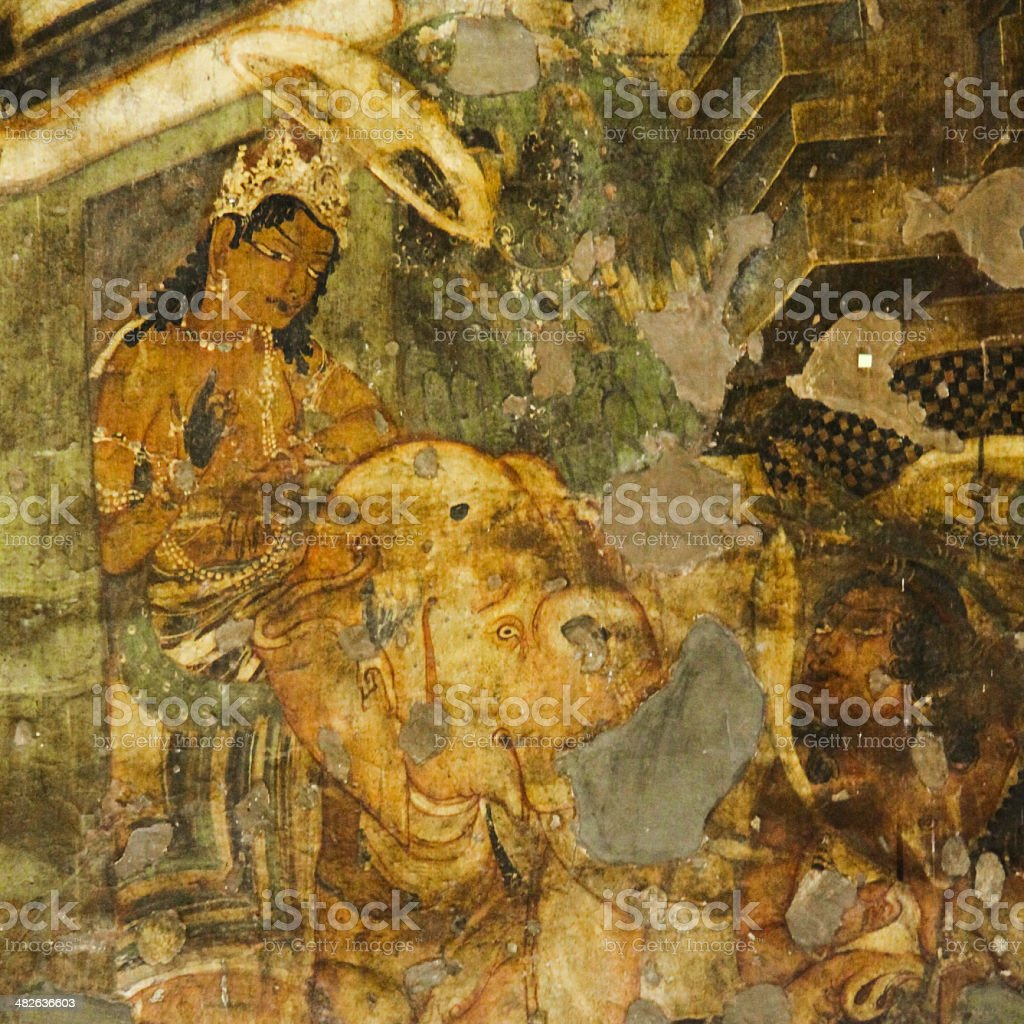 Ajanta Mural Painting - Prince Siddharth stock photo