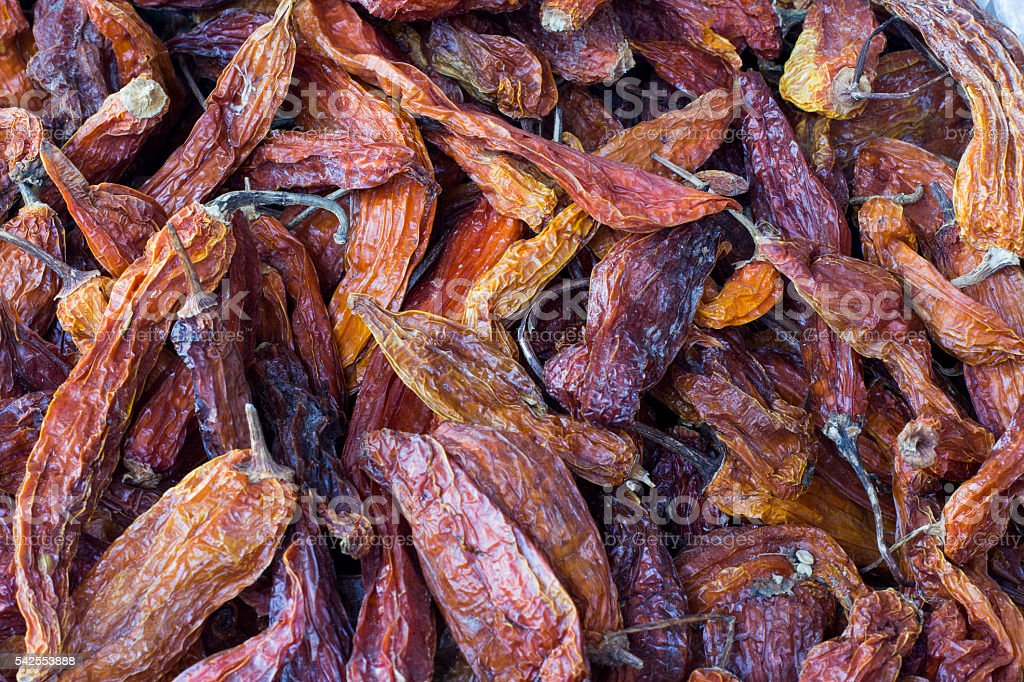 Aji amarillo, dried yellow chili peppers, with 'aji colorado' stock photo
