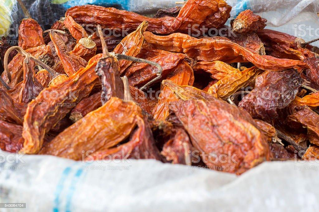 Aji amarillo seco, dried yellow chili peppers from Peru stock photo