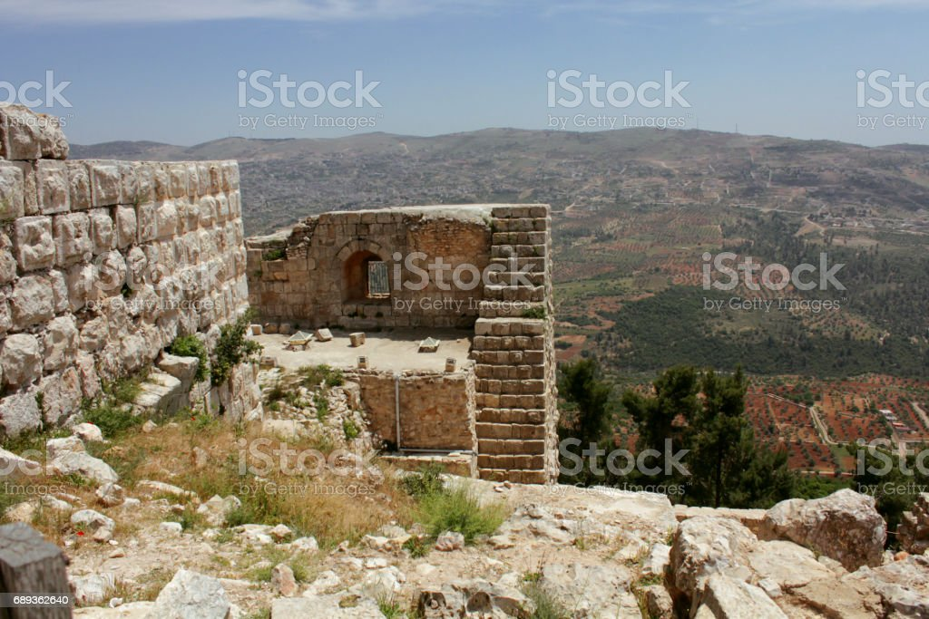 ajloun castle stock photo