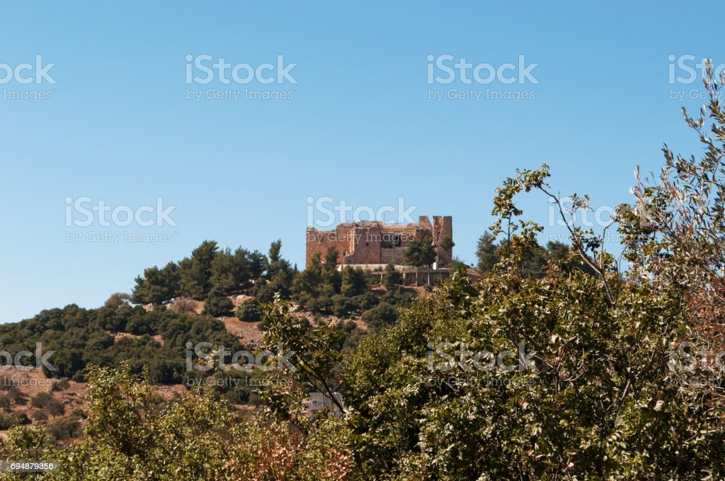Ajloun: the Jordan Valley and the Ajloun Castle, a Muslim castle built by the Ayyubids in the 12th century, enlarged by the Mamluks, on a hilltop belonging to the Mount Alun district stock photo