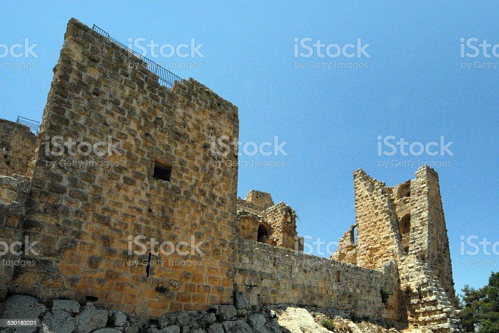 Ajlun castle towers, Jordan stock photo