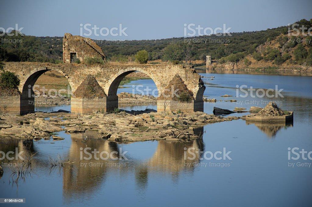 Ajuda bridge. Frontier between Spain and Portugal. stock photo