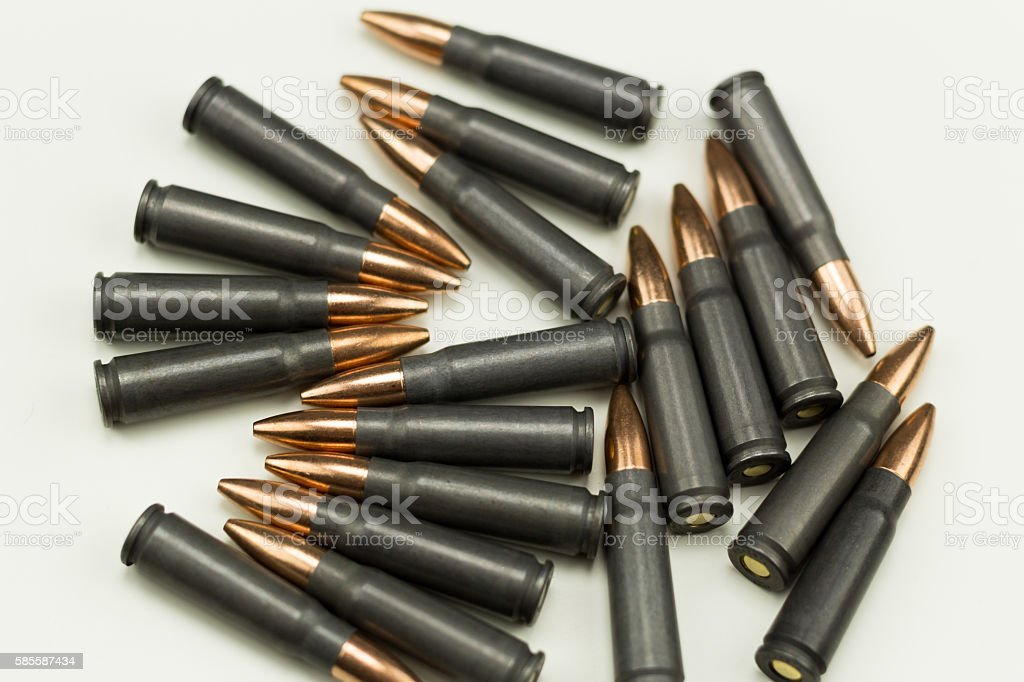 Ak-47 Rifle Cartridge Hollow Point Bullet 7.62x39mm over head random stock photo