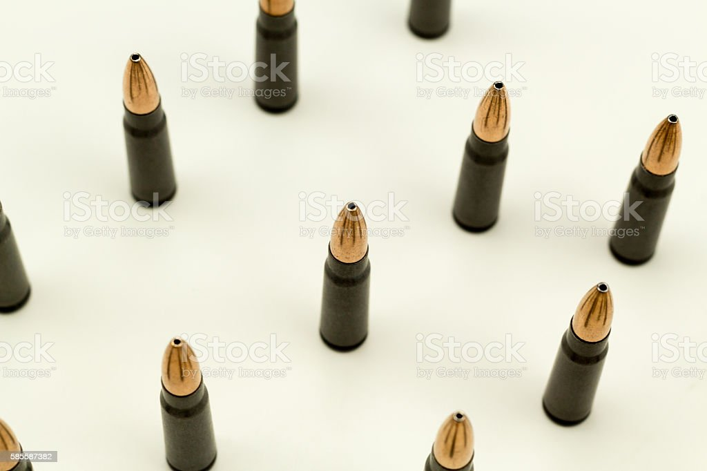 Ak-47 Rifle Cartridge Hollow Point Bullet 7.62x39mm Over Head View stock photo