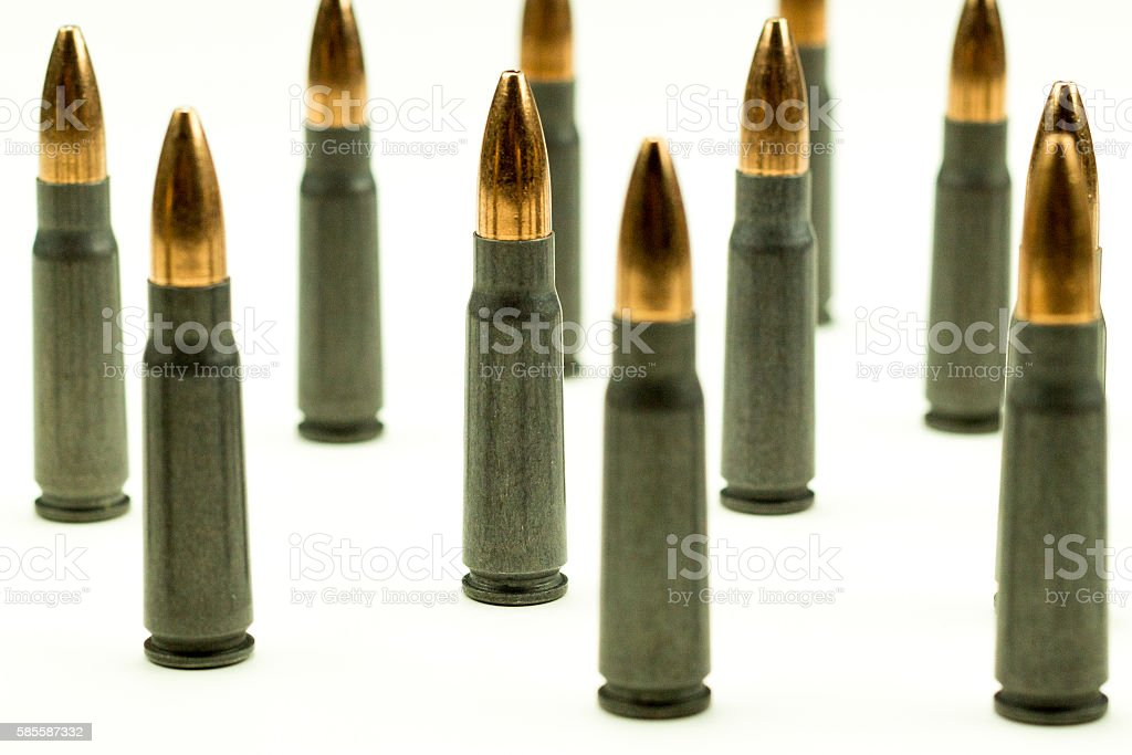Ak-47 Rifle Cartridge Hollow Point Bullet 7.62x39mm  Side View stock photo