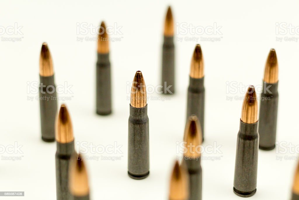 Ak-47 Rifle Cartridge Hollow Point Bullet 7.62x39mm Upper Side view stock photo