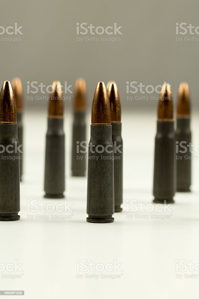Ak-47 Rifle Cartridge Hollow Point Bullet 7.62x39mm Vertical Tight Crop stock photo