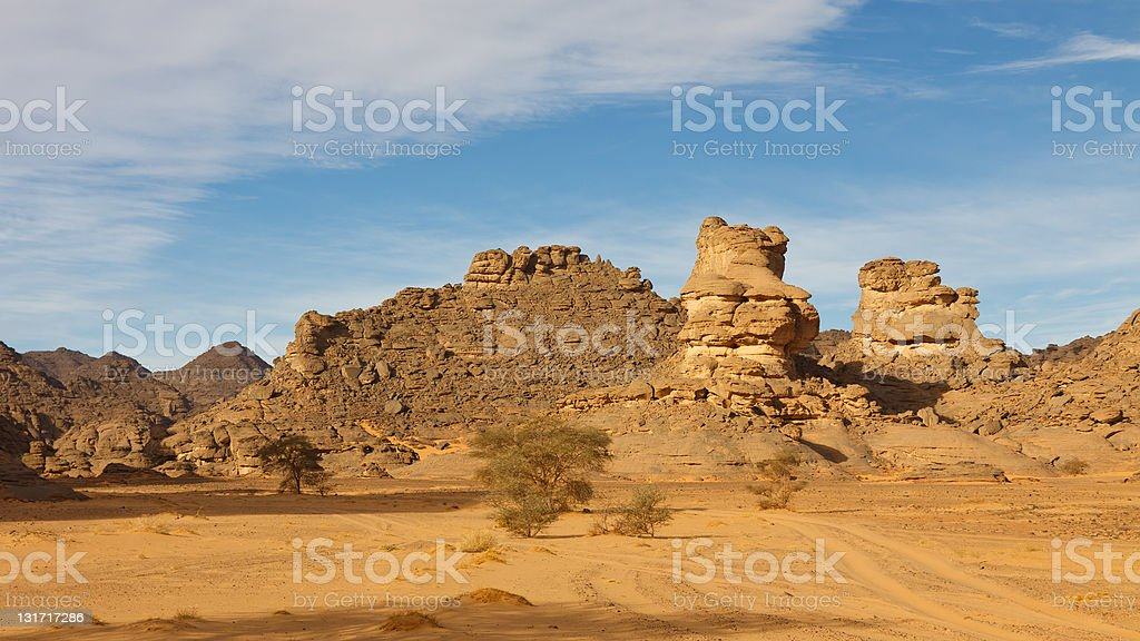 Akakus Mountains, Sahara Desert, Libya stock photo