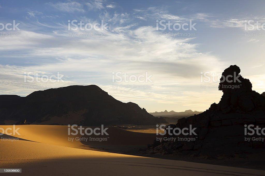 Akakus (Acacus) Mountains, Sahara, Libya at Sunset stock photo