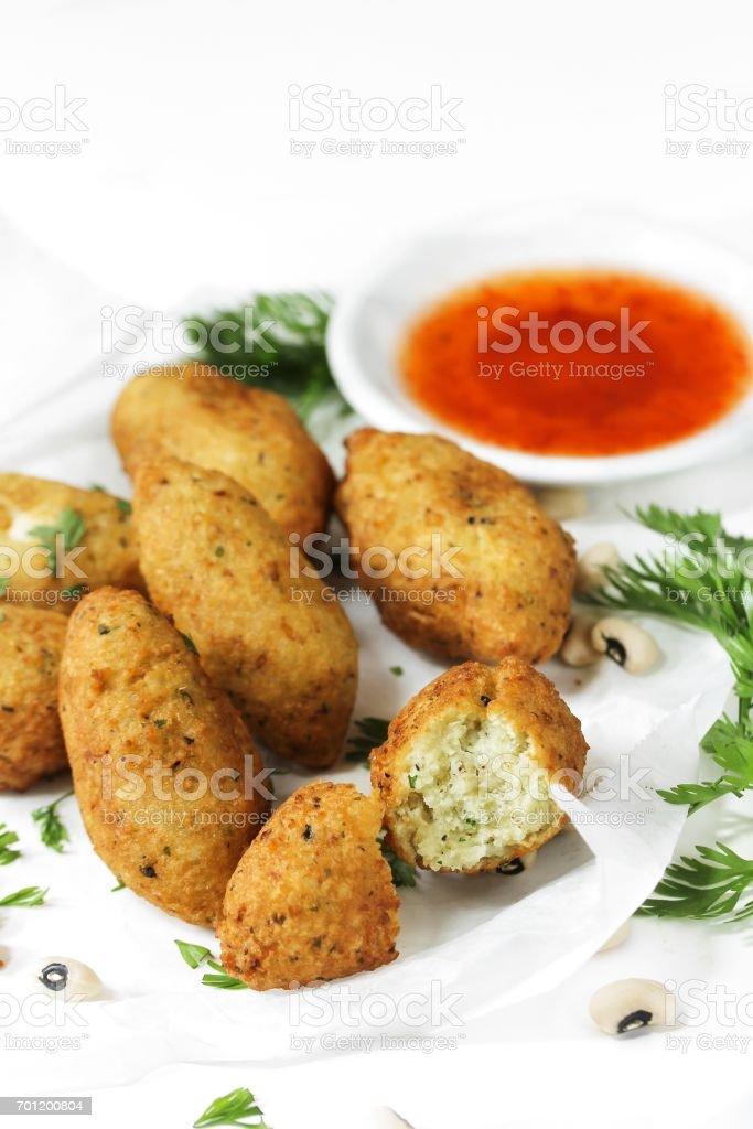 Akara - African black Eyed pea Fritters stock photo