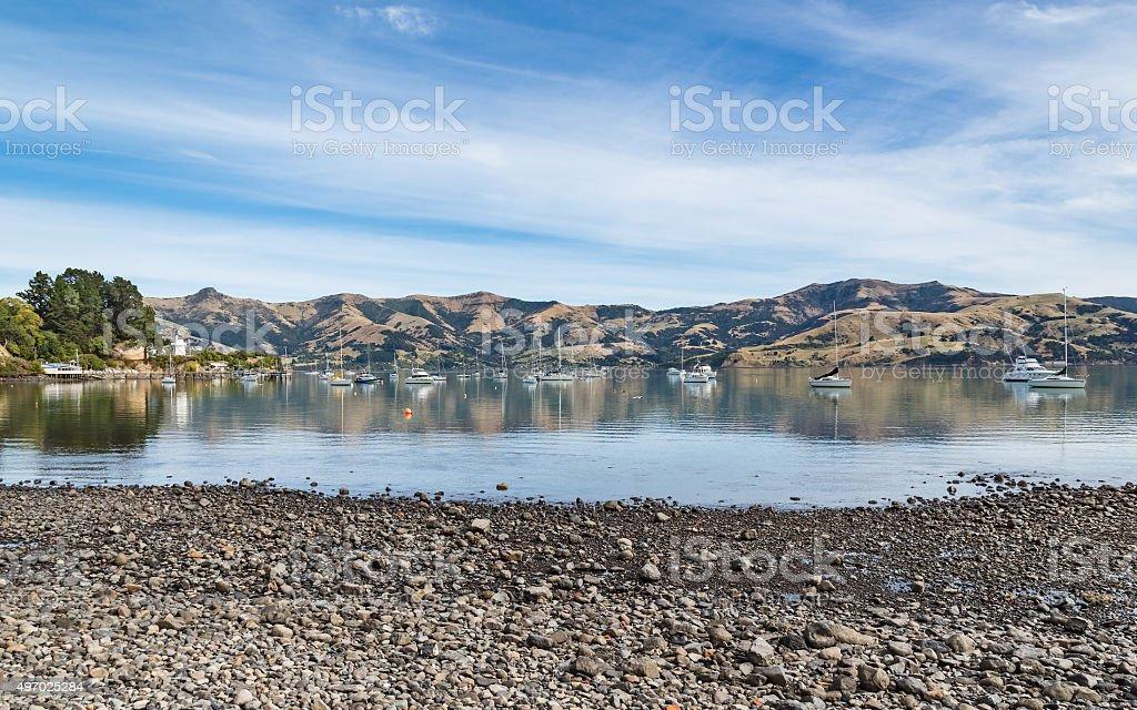 Akaroa, Canterbury, South Island New Zealand stock photo