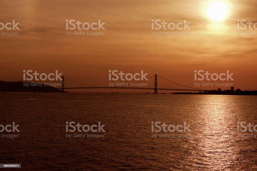 Akashi bridge sunset stock photo