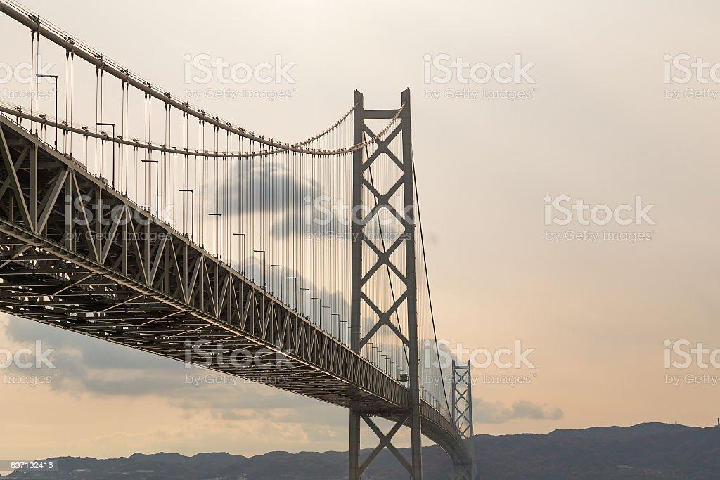 Akashi Kaikyo Bridge in Kobe, Japan stock photo