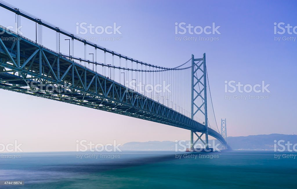 Akashi Kaikyo Bridge, Kobe, Japan stock photo