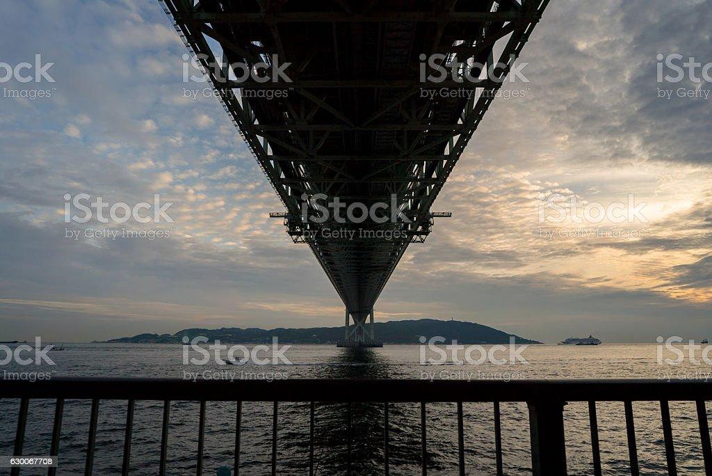 Akashi Kaikyo bridge on Sunset twilight sky at Kobe port. stock photo