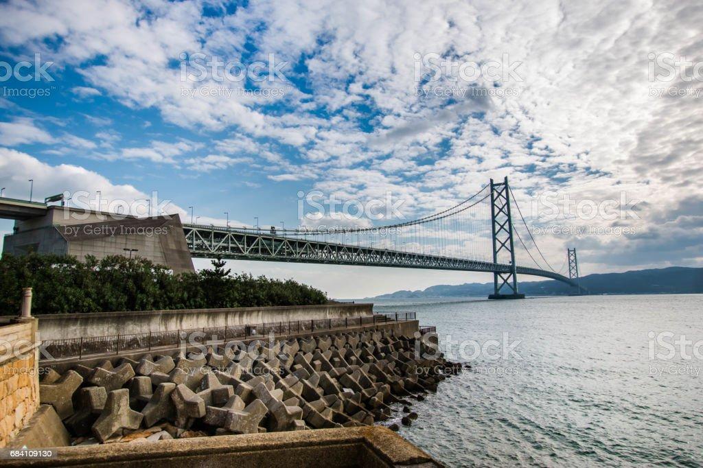 Akashi Kaikyo Bridge, suspension bridge, spanning the Seto Inland Sea from Awaji Island to Kobe, Japan. stock photo