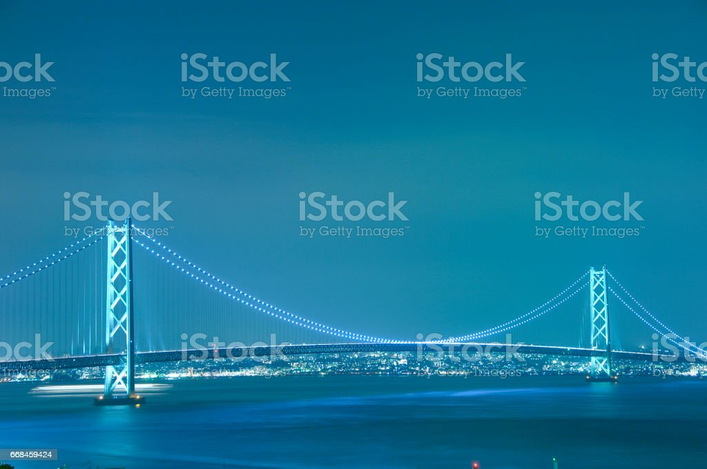 Akashi-Kaikyo Bridge night view stock photo