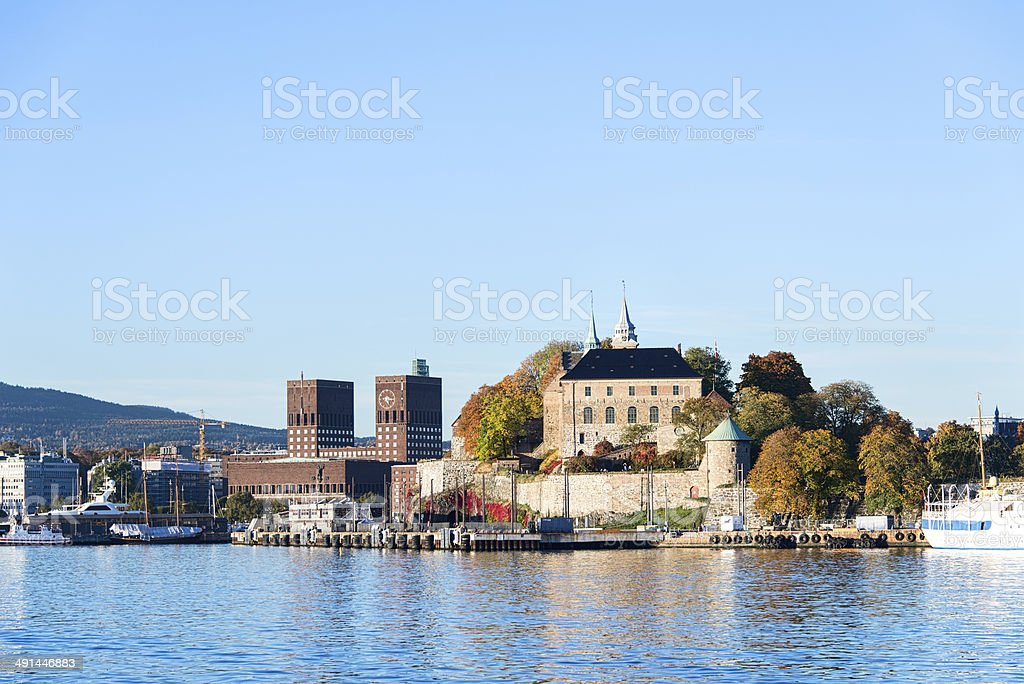 Akershus Fortress and radhuset stock photo