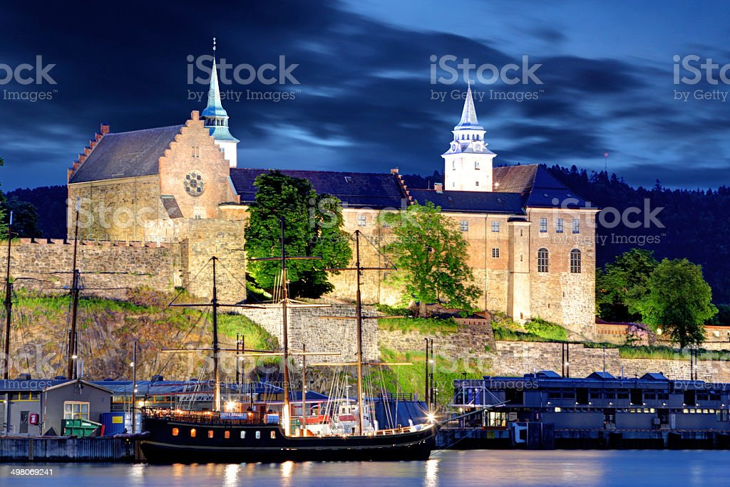 Akershus Fortress at night, Oslo, Norway stock photo