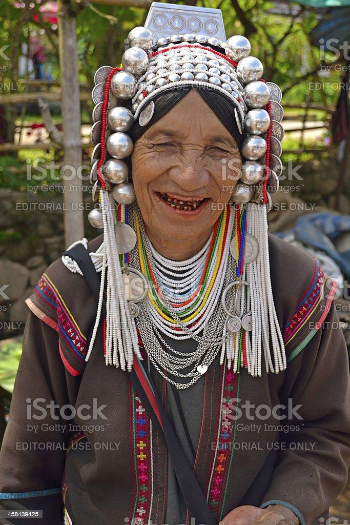 Akha hill tribe woman stock photo