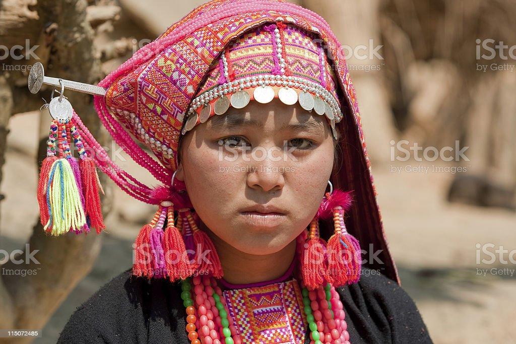 Akha woman from Laos stock photo