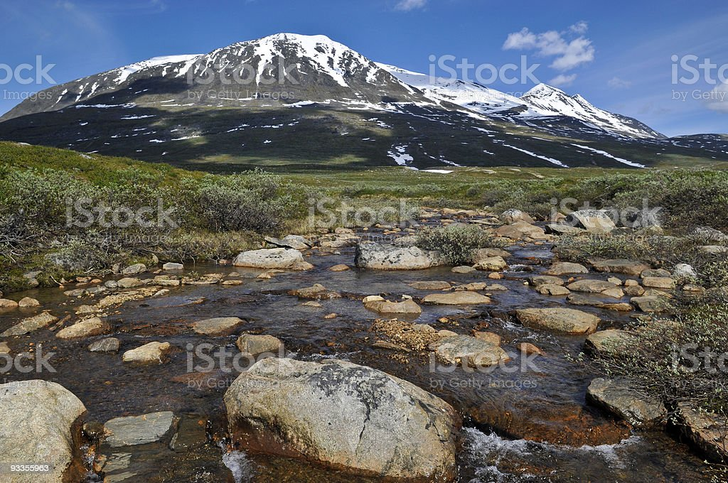 Akka Mountain in Sarek National Park stock photo