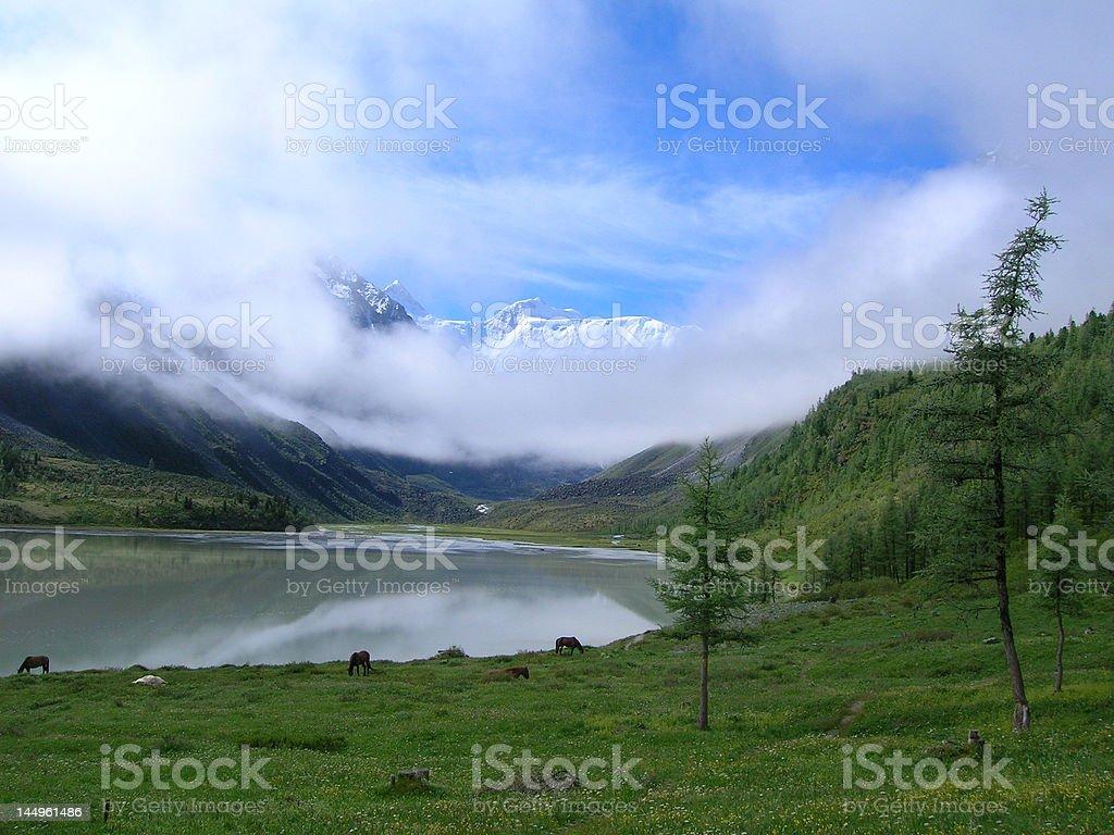 Akkem lake, Altay stock photo
