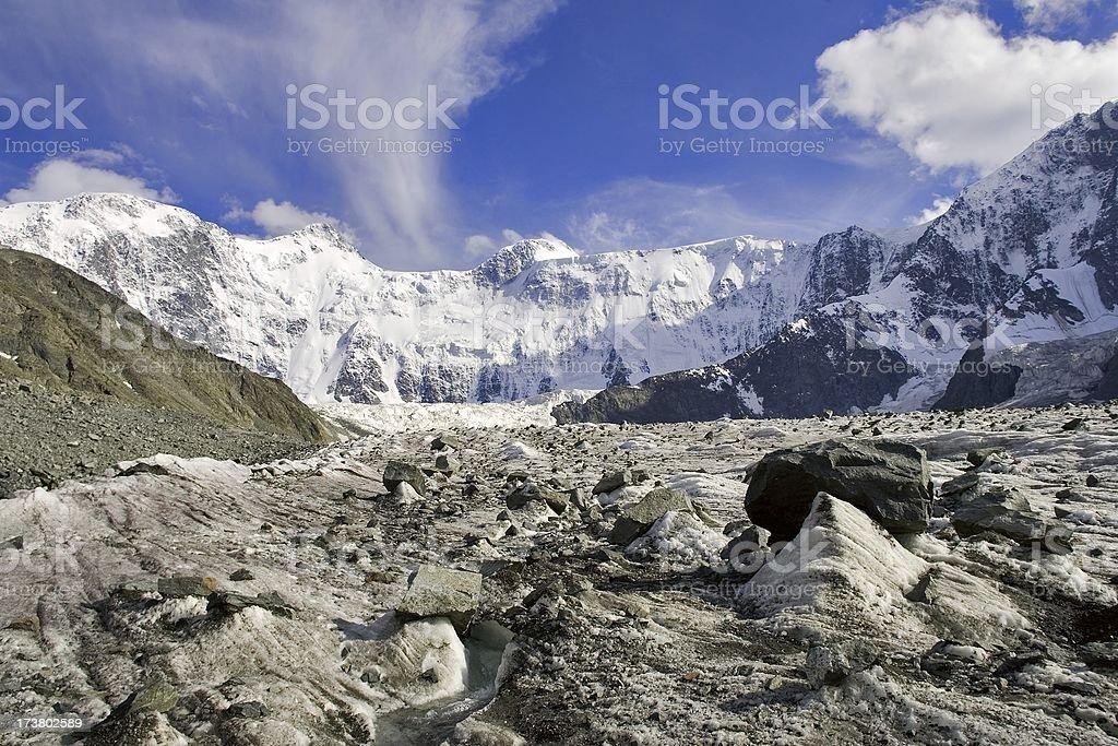 Akkem wall. Beluha 4506m. Altay. stock photo